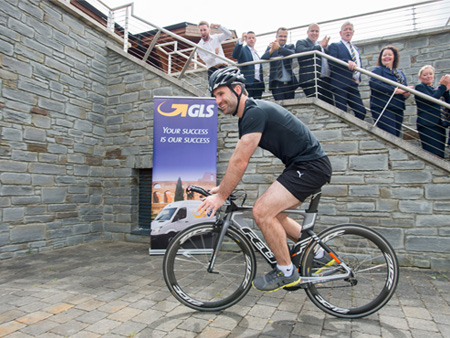 Bryan Cullen launching GLS partnership with Triathlon Ireland
