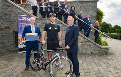 Ronan Quinn Director GLS, Bryan Cullen Brand Ambassador, Chris Kitchen CEO Triathlon Ireland